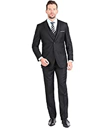 Tazio Mens Suit 2 Button 3 Piece Slim Fit Black 42R