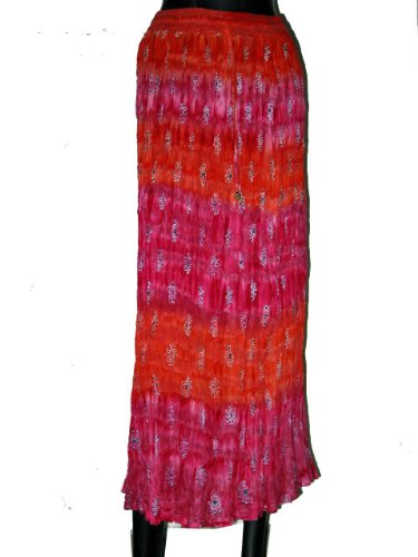 Designer Summer Style Pink, Orange Floral Print Gypsy Long Boho Skirt for Women 38 Inch