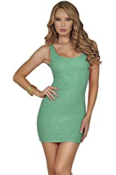 Womens Bodycon Stretch Knit Textured Scoop Neck Sleeveless Party Mini Dress