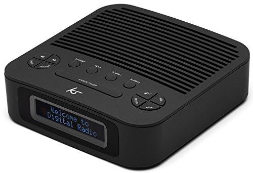 KitSound Revive DAB/FM/UKW Uhrenradio Radiowecker mit UK Netzstecker oder Batteriebetrieben - Schwarz