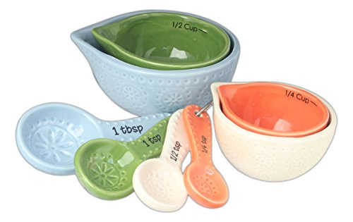 Drew DeRose Multicolor Ceramic Measuring Cups & Spoons Set (Bright Spring Measuring Spoons compare prices)
