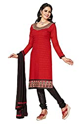 Parisha s Red Embroidered Chanderi Straight Suits Dress Material(Red,Black)
