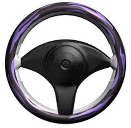 Stretchy Grip Purple & Black Zebra Steering Wheel Cover