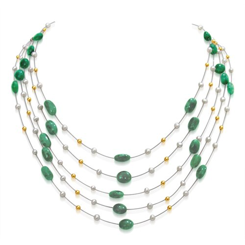 Real Emerald & Freshwater Pearl 5 Line Necklace