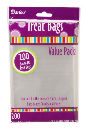 Darice 28-002V 3-3/4-Inch-by- 6-Inch Clear Treat Bag 200-Pieces