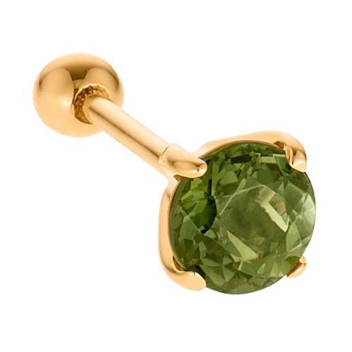 5mm Peridot 14K Yellow Gold Cartilage Helix Stud Earring