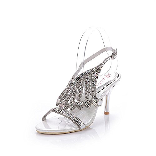 Image of Unicrystal Women's Handmade Crystal Embellished Ankle Strap High Heel Prom Sandals with Stiletto Heel Silver 8 M US