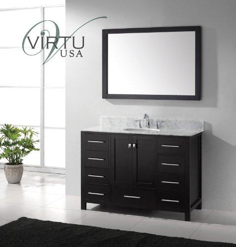 Virtu Usa Gs-50048-Wmro-Es Caroline Avenue 48-Inch Bathroom Vanity With Single Round Sink In Espresso And Italian Carrara White Marble