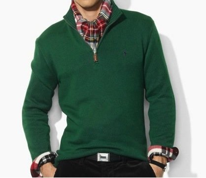 Polo Ralph Lauren Mens Cotton Half Zip Jumper Sweater in Green (X-Large)