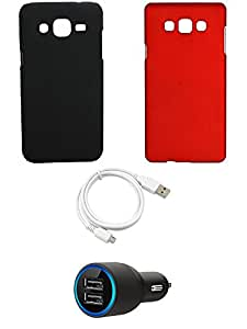 NIROSHA Cover Case Car Charger USB Cable for Samsung Galaxy ON7 - Combo