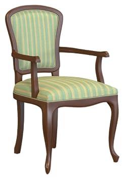 Selva SPA Epoca Mirabeau 8029853000502 Wood Armchair Classic and Elegant with Walnut Finish, 54 x 61/ 96/ 51 cm, Brown