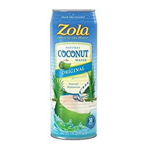 Zola Natural Coconut Water, 17.5 Ounce (Pack of 12)