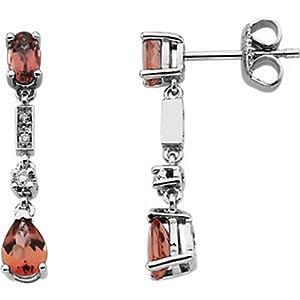 IceCarats Designer Jewelry 14K White .07 Ctw Diamond And Pink Tourmaline Earrings 14K White Gold