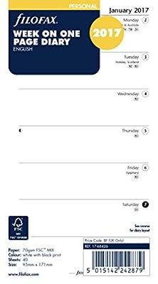 Filofax Personal Week Per Page English 2017 Diary