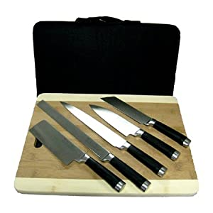 5 PC. SUSHI KNIVES, pro sushi carbon vanadium stainless steel, hand made in carrying case
