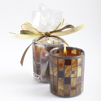Cinnamon Cider Mosaic Glass Candle By Aromatique