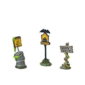 Department 56 Original Snow Village Halloween Scary Warning Signs Accessory Set of 3