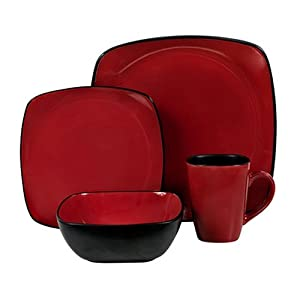 Corelle Hearthstone 16-Piece Square Dinnerware Set, Service for 4, Chili Red