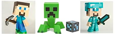 Mojang Minecraft 6 Vinyl Toy Set Of 3 - Steve Diamond Steve And Creeper by Mojang