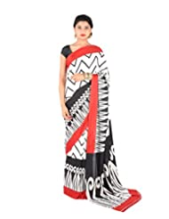 Ctc Mall White & Black Printed Satin Saree