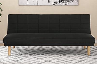 DHP Estera 600lb Linen Upholstery Futon Convertible Sofa with Natural Wooden Legs, Rich Black