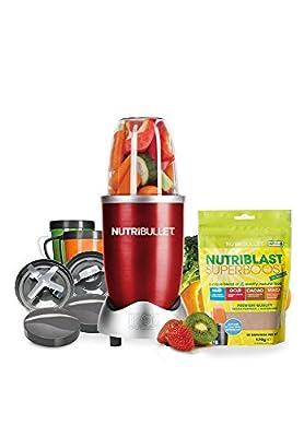 Nutribullet Red 12 Piece Set with Bonus Nutriblast Superboost Powder