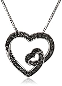 Sterling Silver 1/5cttw, Black Diamond Heart Pendant Necklace, 18