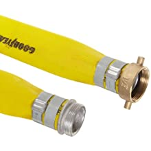 Goodyear EP Spiraflex Yellow Heavy Duty PVC Suction/Discharge Hose Assembly, Aluminum NPSH Male x Brass Female Swivel Couplings, 200 PSI Max Pressure