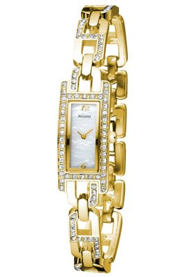 Accurist Ladies Quartz Watch with Mother Of Pearl Dial Analogue Display and Gold Other Bracelet LB1315