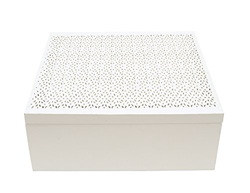 Creative Co-Op Square Laser Cut Box, White