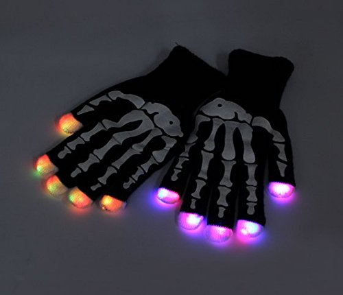 7 mode LED Finger Gloves Lighting Flashing Rave Toy Dance Party (Black skull) by Completestore