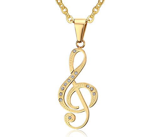 Musical Symbol G Clef Unique Crystal Melody Music Gold Plated Necklace(Gold) (Pan Am Badge compare prices)