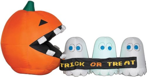halloween backyard inflatables:Pac-Man errant Ghost Scene gentle Up blow up Yard brace Images
