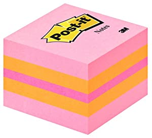 Post-it Notes - Mini Cube - Pink Coral, Neon Orange, Neon Pink, Neon Orange - 400 Sheets - 51 mm x 51 mm
