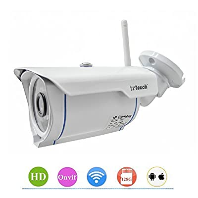 iZtouch IZSP-007 Outdoor Security Home Office Warehouse 1280x720P HD H.264 Wireless/Wired IP Camera with IR-Cut Filter Night Vision QR Code Scan Phone Apps Remote Monitoring ONVIF Supported