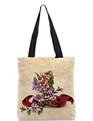 Snoogg Floral Vector Background Illustration With Bow And Floral Bouquet Designer Poly Canvas Tote Bag