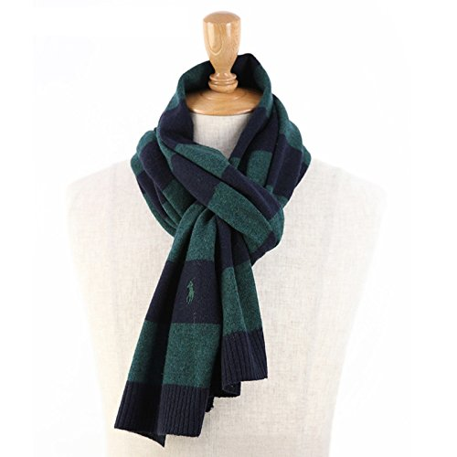 ラルフローレン ボーダーのウール混紡 スカーフ マフラー [並行輸入品] 0108431 (GREEN/NAVY)