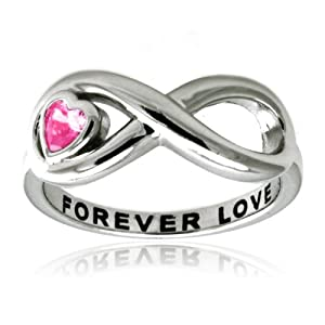 Tioneer Sterling Silver Infinity Forever Love Ring w/ Pink Heart CZ - Size 6.5