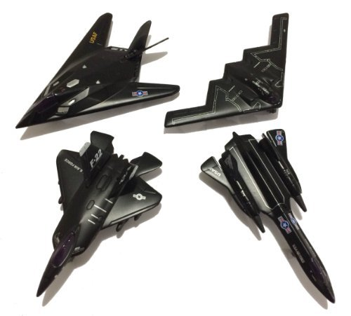 "5"" Die Cast Metal Pull Back Stealth Bombers and Fighter Planes Set of 4"