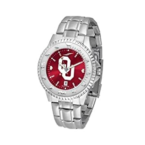 Oklahoma Sooners NCAA Anochrome Competitor Mens Watch (Steel Band) by SunTime