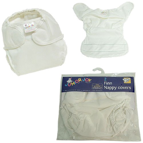 Junior Joy 2-Piece Finn Nappy Cover, White, Large - 1