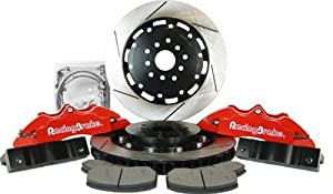 RacingBrake 2025-351-6111-RD Drilled and Slotted Finish 6-Piston Front Big Brake Kit with Red Calipers for Subaru