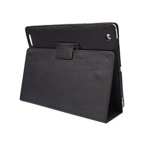 iPad 2 Soft Sheepskin Immitation Book Style Reversal Folding Clampping Stand Folio Case Black