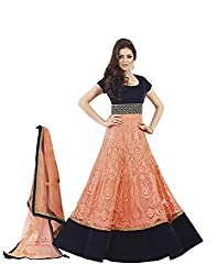 Ustaad Women Velvet & Net Dress Material (Ustaad _Peach _Free Size)
