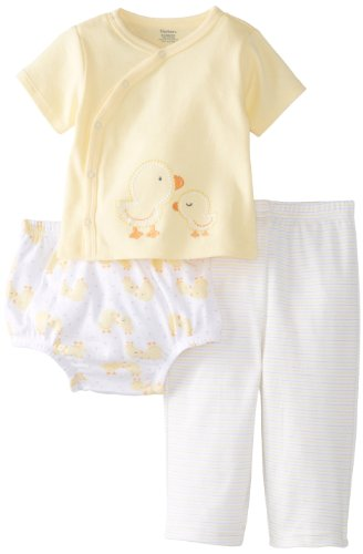 Gerber Unisex-Baby Newborn 3 Piece Set Side-Snap Shirt Pant Diaper Cover-Ducks, Yellow, 3-6 Months