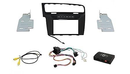 """maxxcount 2DIN kit d'installation """"infotainment"""" 2DIN - Façade Cadre noir / brillant / 190mm profondeur de montage (+ CAN-Bus télécommande de volant + + adaptateur vidéo) VW Golf 7 / Sportsvan"""