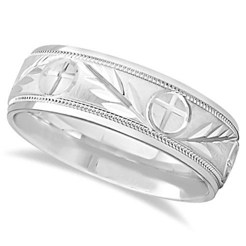 Comfort Fit Carved Cross And Leaf Ring Wedding Band For Men In 14K White Gold (7Mm)