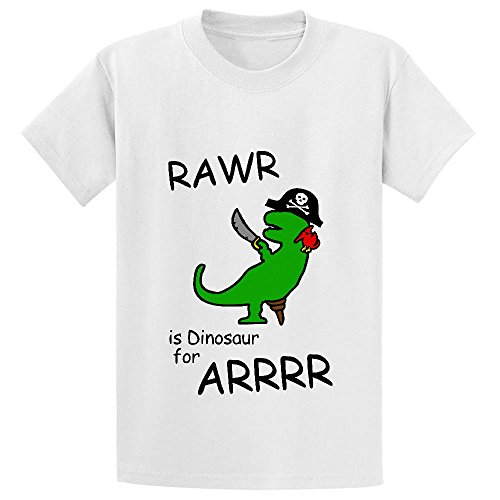 Unicorn Rawr Is Dinosaur For Arrr Pirate Kid's Cotton Crew Neck Tee White (I Ate A Shark Shirt compare prices)