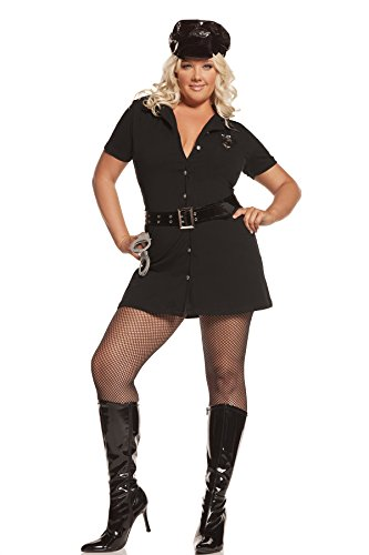Sexy Women's Officer Arrest Me Adult Roleplay Police Costume, 3X/4X, Black (Hot Cop Costumes)