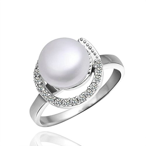 18K White Gold Plated Women Classic Ring US Size 8 Ball Shape White & Platinum CZ - Adisaer Jewelry (Dr Who Engagement Ring compare prices)